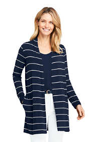 Women's Long Sleeve Stripe Knit Cardigan