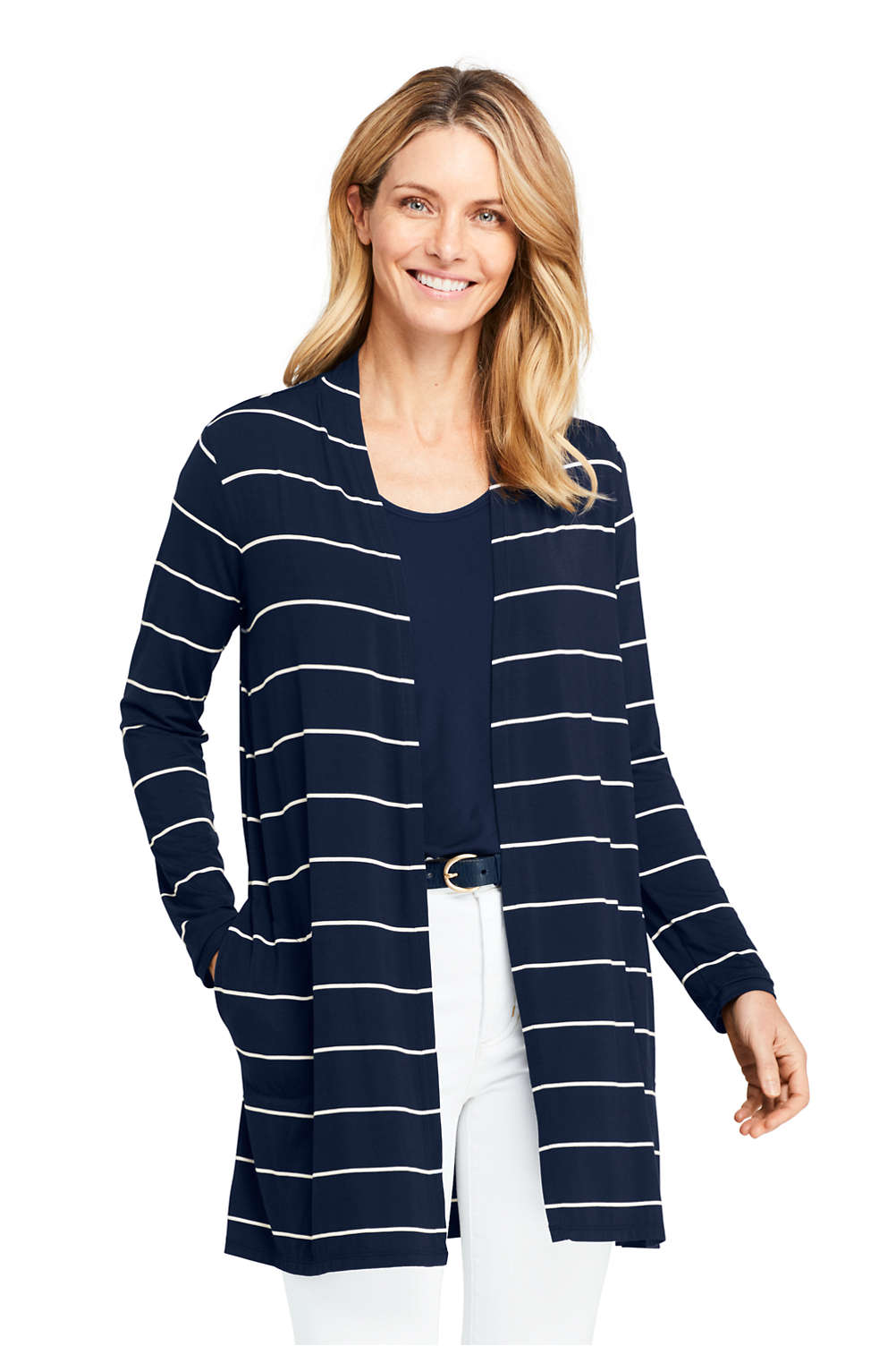 078e5933eea Women s Long Sleeve Stripe Knit Cardigan from Lands  End