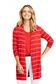 Women's Petite Long Sleeve Stripe Knit Cardigan
