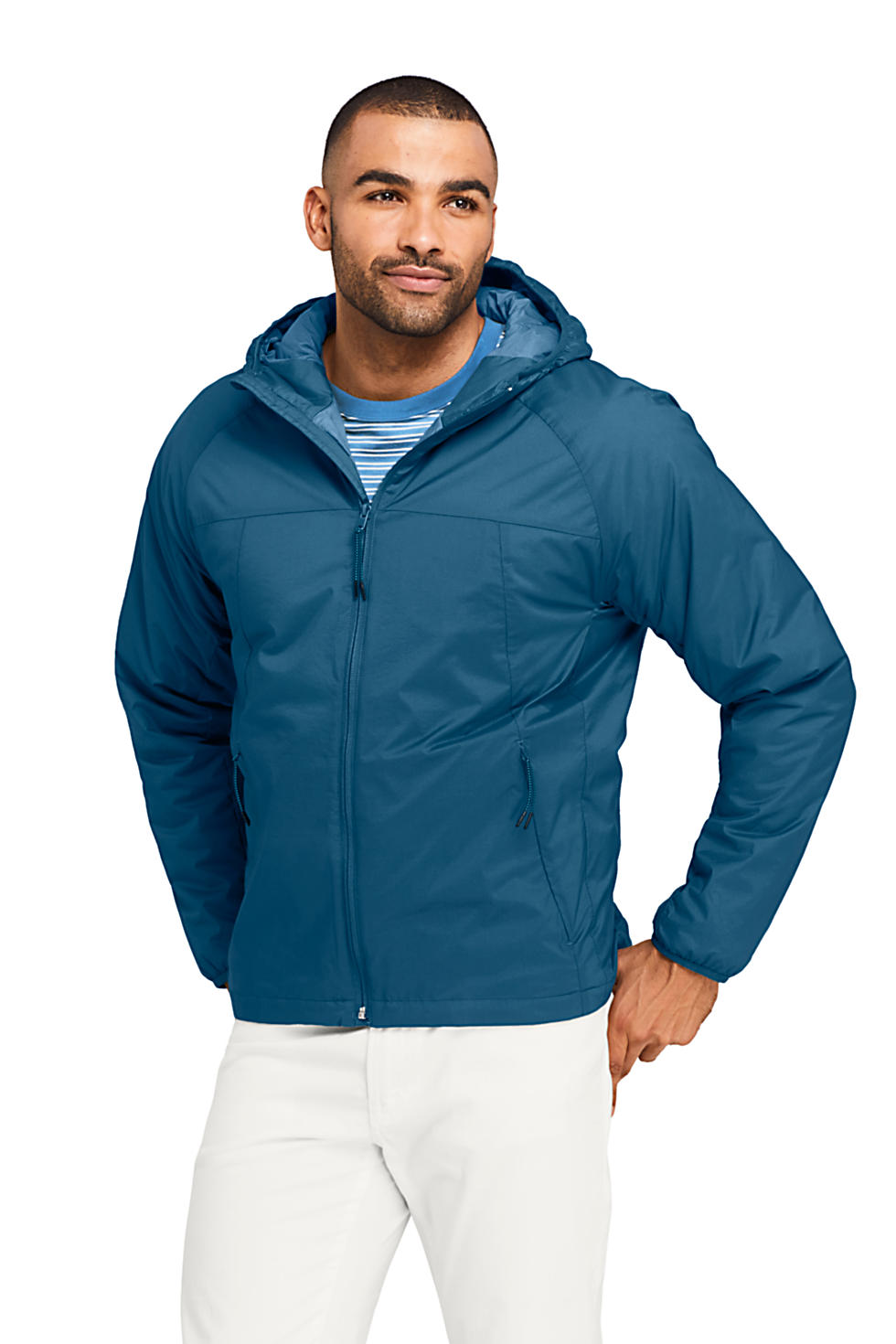 Lands End Mens Stretch Packable Primaloft Insulated Hooded Jacket