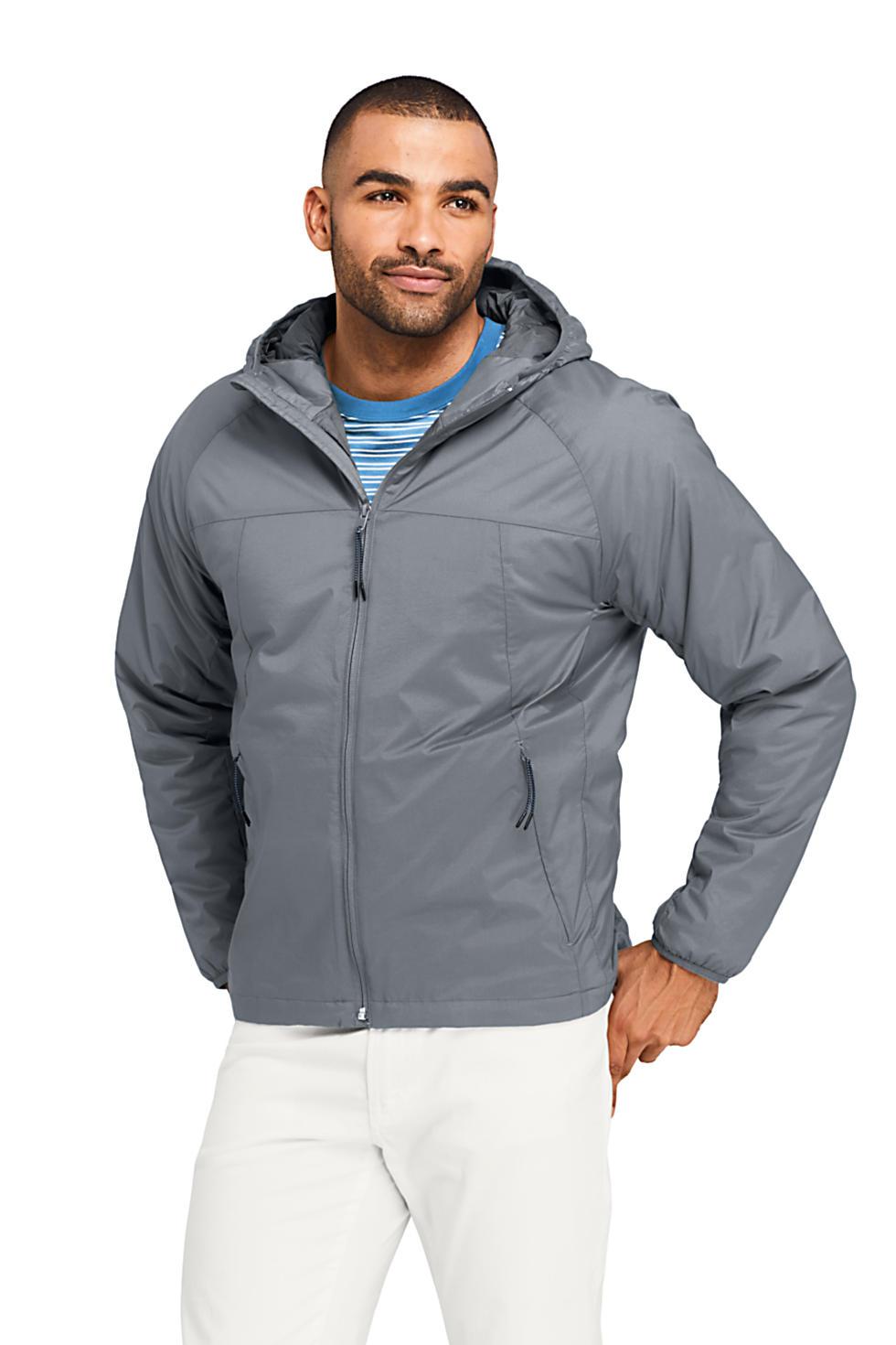 Lands' End Men's Stretch Packable Primaloft Insulated Hooded Jacket
