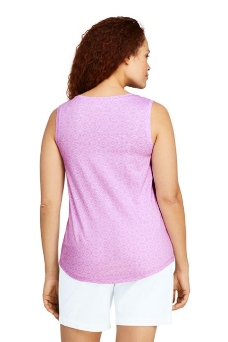 Women's Plus Size Print Slub Jersey V-neck Tank Top