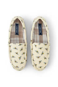 Women's Flannel Lined Canvas Moc Slippers Sophie Allport Bee Print