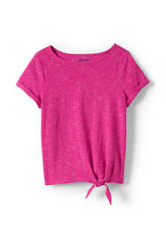 Little Girls Knot Front Rainbow Sprinkle Slub Top