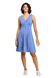 cfb42862384 Women s Wrap Front Fit and Flare Dress Knee Length from Lands  End