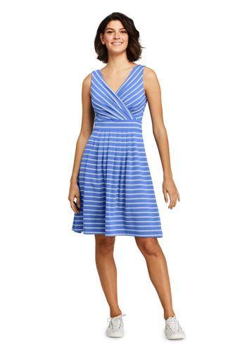 Women's Striped Jersey Crossover Dress