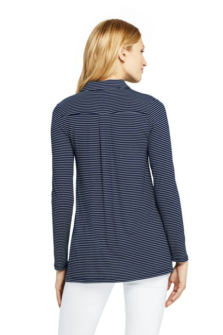 Women's Long Sleeve Stripe Button Down Tunic