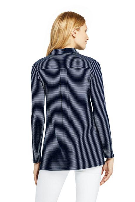Women's Tall Long Sleeve Stripe Button Down Tunic
