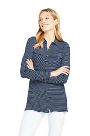 Women's Petite Long Sleeve Stripe Button Down Tunic