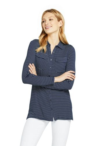 Women's Stripe Viscose Jersey Tunic Blouse