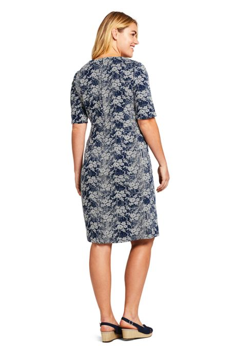 Women's Plus Size Elbow Sleeve Jacquard Ponte Sheath Dress