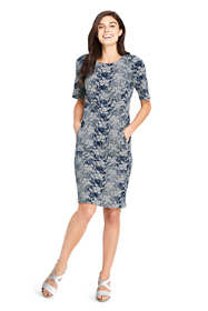 Women's Petite Elbow Sleeve Jacquard Ponte Sheath Dress