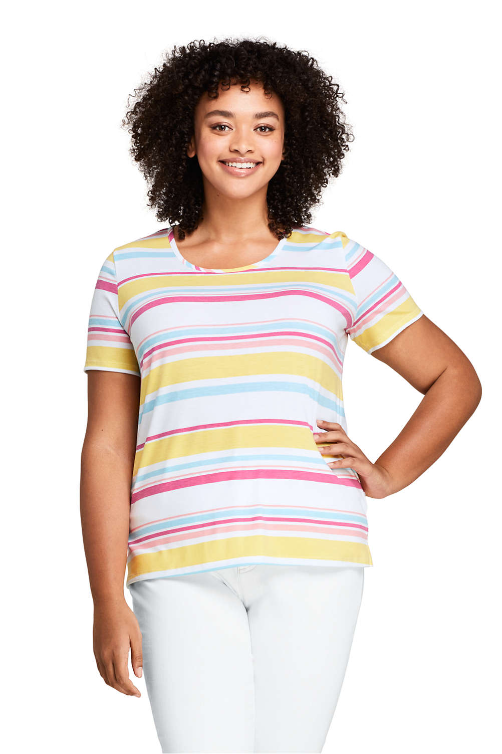 90ddabdac Women's Plus Size Short Sleeve UPF Wicking T-shirt - Print from Lands' End