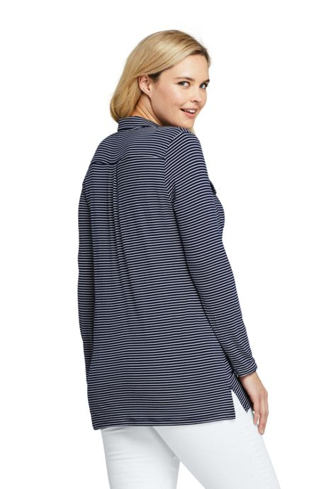 Women's Plus Size Long Sleeve Stripe Button Down Tunic