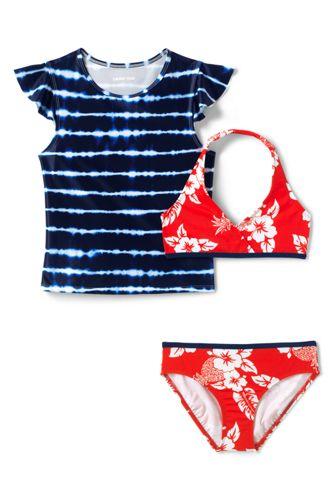 Little Girls' Three-piece Ruffle Rash Vest Swim Set