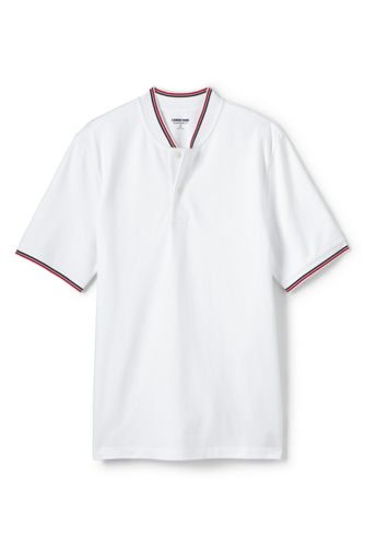 Men's Stretch Piqué Polo Shirt with Stand Collar