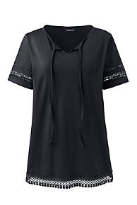 82c7f9039b7 Women s Plus Size Short Sleeve Tie Neck Trimmed Tunic