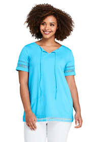 Women's Plus Size Short Sleeve Tie Neck Trimmed Tunic