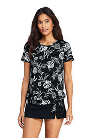 Women's Short Sleeve Blouson Swim Tee Rash Guard Print