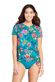 Women's Short Sleeve Blouson Swim Tee Rash Guard Print