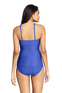 Women's Texture V-Neck Wrap Underwire Tankini Top Swimsuit with Adjustable Straps, Back