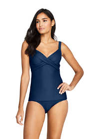 Women's Texture V-Neck Wrap Underwire Tankini Top Swimsuit with Adjustable Straps