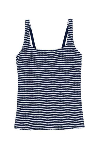 Women's DDD-Cup Texture Square Neck Underwire Tankini Top Swimsuit with Adjustable Straps Stripe