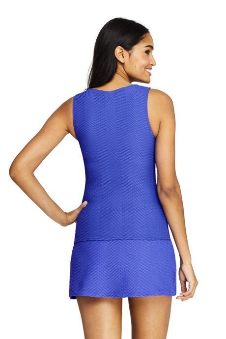 Women's Long Texture High-neck Tankini Top Swimsuit