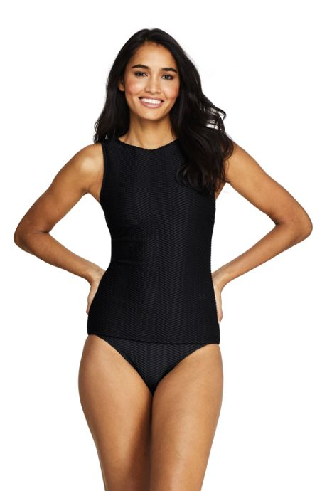 Women's Texture High-neck Tankini Top Swimsuit