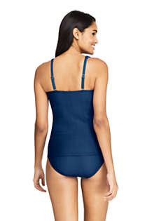 Women's D-Cup Texture Square Neck Underwire Tankini Top Swimsuit with Adjustable Straps, Back