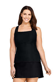 Women's Plus Size Texture Square Neck Underwire Tankini Top Swimsuit