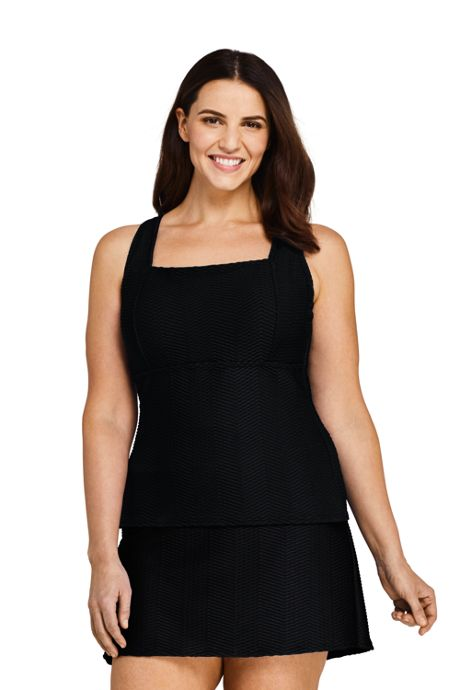 Women's Plus Size Texture Square Neck Underwire Tankini Top Swimsuit Adjustable Straps