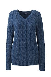 00d425fe970d Zopfmuster-Pullover DRIFTER mit V-Ausschnitt für Damen