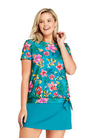 Women's Plus Size Short Sleeve Blouson Swim Tee Rash Guard Print