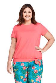 Women's Plus Size Short Sleeve Blouson Swim Tee Rash Guard