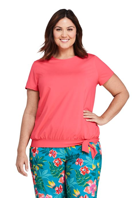 Women's Plus Size Short Sleeve Blouson Swim Tee Rash Guard