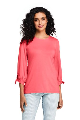 Women's Lightweight Cotton-modal Tee with Tie Sleeves