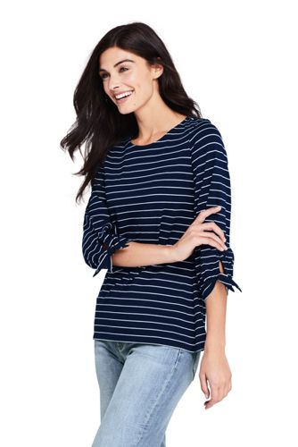 Women's Stripe Cotton-modal Tee with Tie Sleeves