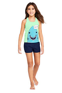 Girls Slim Racerback Graphic Tankini Top, Unknown