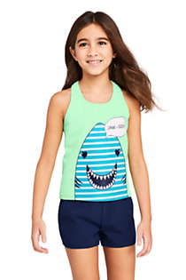 Girls Slim Racerback Graphic Tankini Top, Front