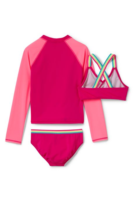 Girls Rash Guard Bikini 3 Piece Set