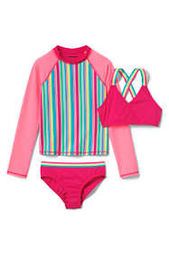Little Girls Zip Rash Guard Bikini 3 Piece Set