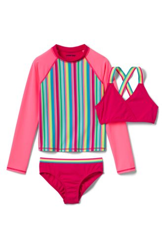 Girls' Rainbow Three-piece Swim Set