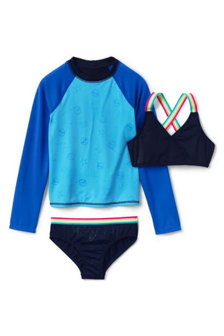 Girls Magic Print Rash Guard Bikini 3 Piece Set