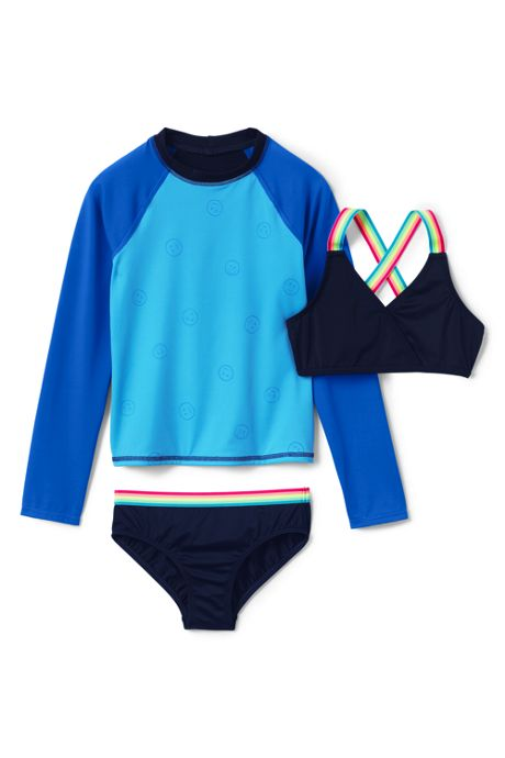 Little Girls Magic Print Rash Guard Bikini 3 Piece Set