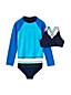 Little Girls' Three-piece Swim Set with Graphic Rash Vest