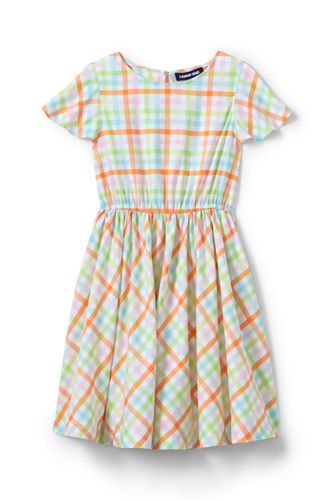 Girls' Flutter Sleeve Plaid Twirl Dress