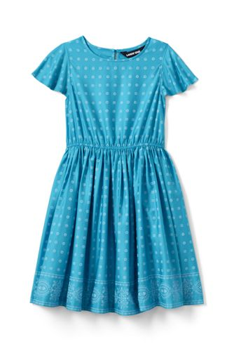 Girls' Flutter Sleeve Print Twirl Dress