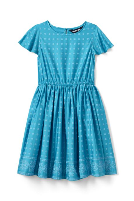 ad6417cce7a5a Girls Border Print Twirl Dress, Dresses & Jumpers, Clothing, Girls ...