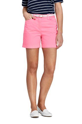 Short Chino Stretch Teinté Taille Mi-Haute, Femme Stature Standard